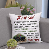Mom To Son, Enjoy The Ride And Never Forget, Personalization Pillow cover