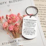 To My Grandson, The Best Thing That Ever Happened To Me Engraved Keychain