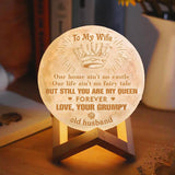 To My Wife, I Still You Are My Queen, Engraved Moon Light Lamp