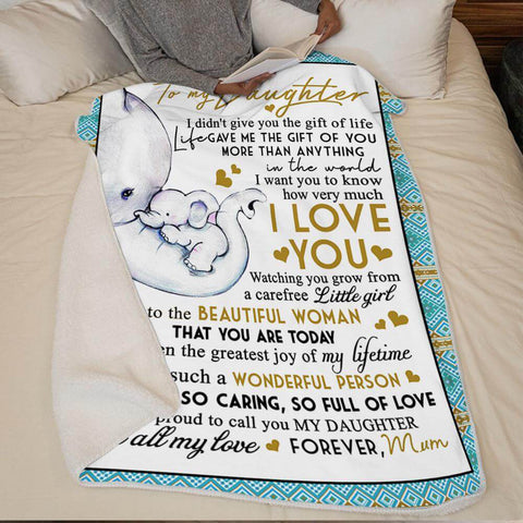 Mum To Daughter, For The Little That You Once Were, Engraved Blanket Unique Gift for Your Daughter