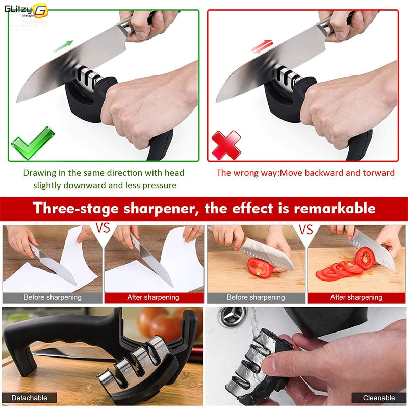 3 Stages Professional Kitchen Sharpening tool