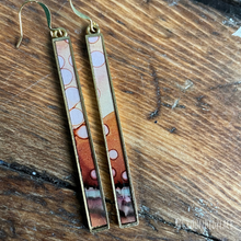 "Load image into Gallery viewer, Alcohol Ink Earrings | *DISCOUNTED* | 3"" Antique Gold Rectangle 