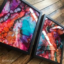 "Load image into Gallery viewer, 'Partner Found' | Original Alcohol Ink Abstract Paintings | 11"" x 14"" (set of 2)"