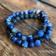 "Load image into Gallery viewer, Diffuser Bracelet | 100% Natural Black Lava Stone, Lapis & Orange Sodalite | Handmade 7"" Slip-on"
