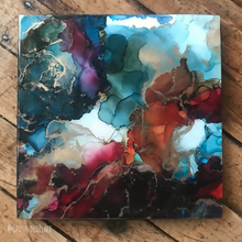 "Load image into Gallery viewer, 'Storm Brewing' | Alcohol Ink | Original Painting | 10"" x10"""