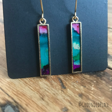 Load image into Gallery viewer, Alcohol Ink Earrings | Pink, Purple, Gold | Handmade
