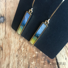 Load image into Gallery viewer, Alcohol Ink Earrings | Yellow, Green, Blue, Gold | Handmade