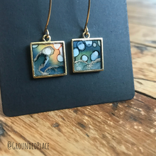 Load image into Gallery viewer, Alcohol Ink Earrings | Green, Blue, Yellow, Gold | Handmade