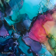 "Load image into Gallery viewer, 'Underwater Rainbow' | Original Alcohol Ink Abstract Painting | 9"" x 12"""