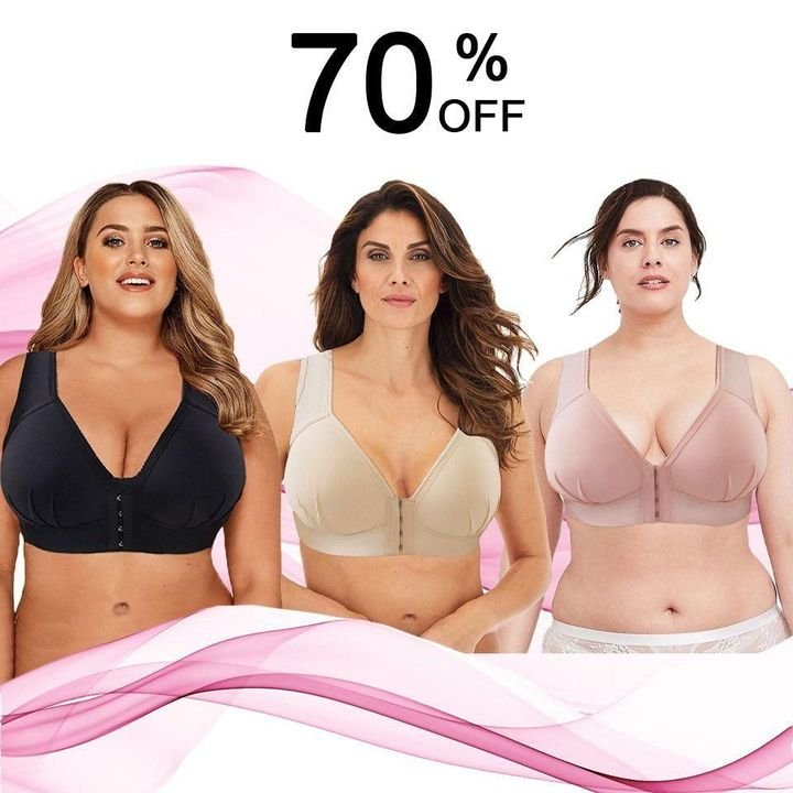Plus Size Front Closure Elastic Push Up Comfort Bra