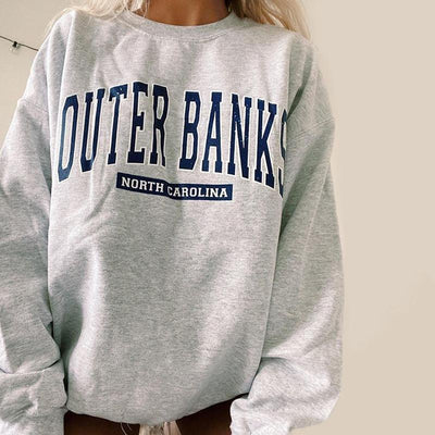 Women's Fashion Printed Round Collar Loose Sweatshirt