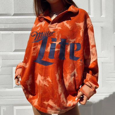 Women's Long-sleeved Loose Tie-dye Letters Sweatshirt