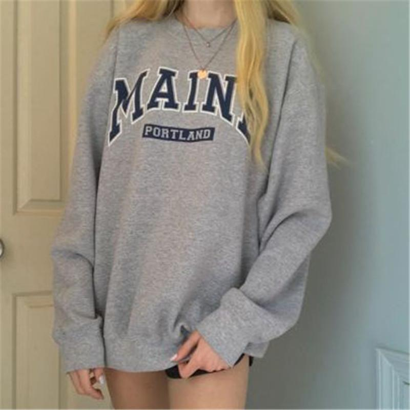 Women's loose casual printed gray sweatshirt