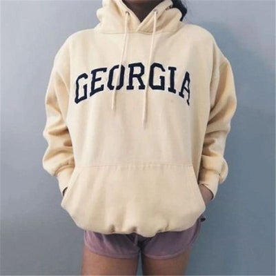 Women's long sleeve hooded printed sweatshirt