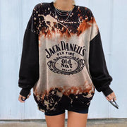Women's Vintage Basic Long Sleeve Round Collar Printed Sweatshirt