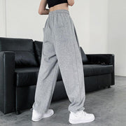 Solid color high waist casual straight-leg pant