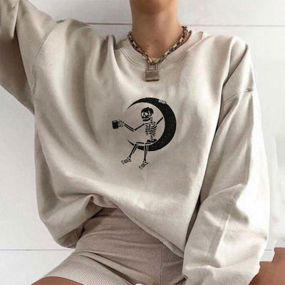 Skeleton crescent moon designer print sweatshirt