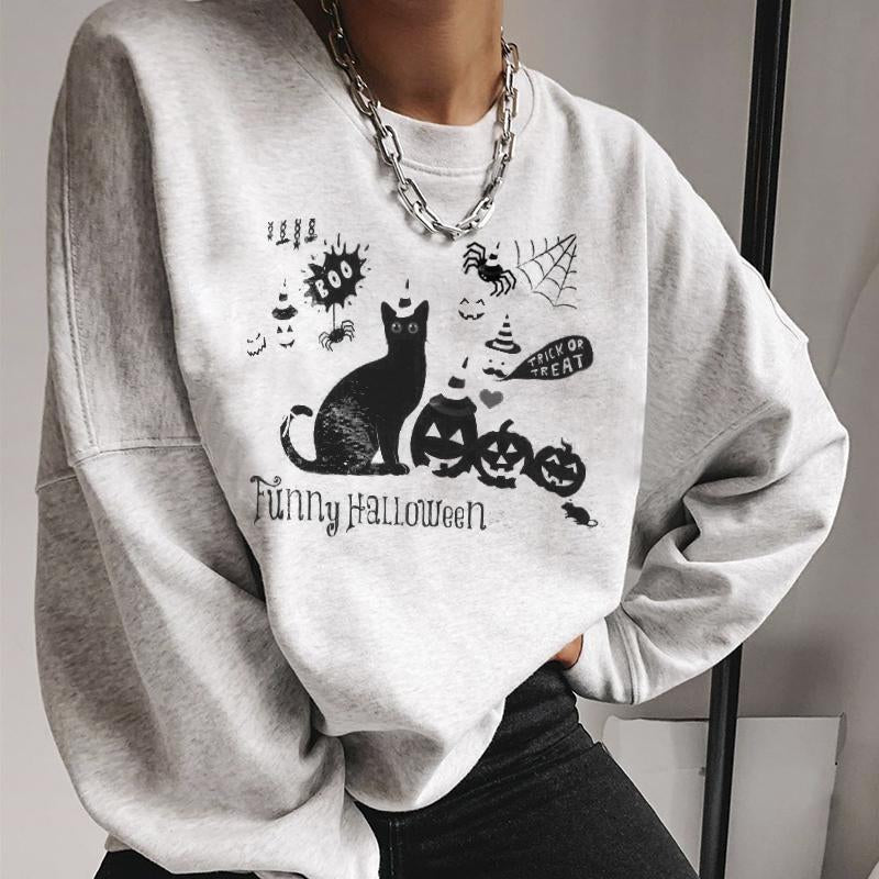 Fashion pumpkin cat designer print sweatshirt