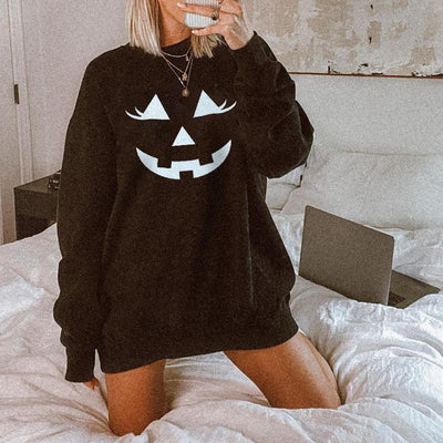 Pumpkin designer print long sleeves casual sweatshirt