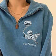 Skeleton hey pumpkin designer print zipper sweatshirt