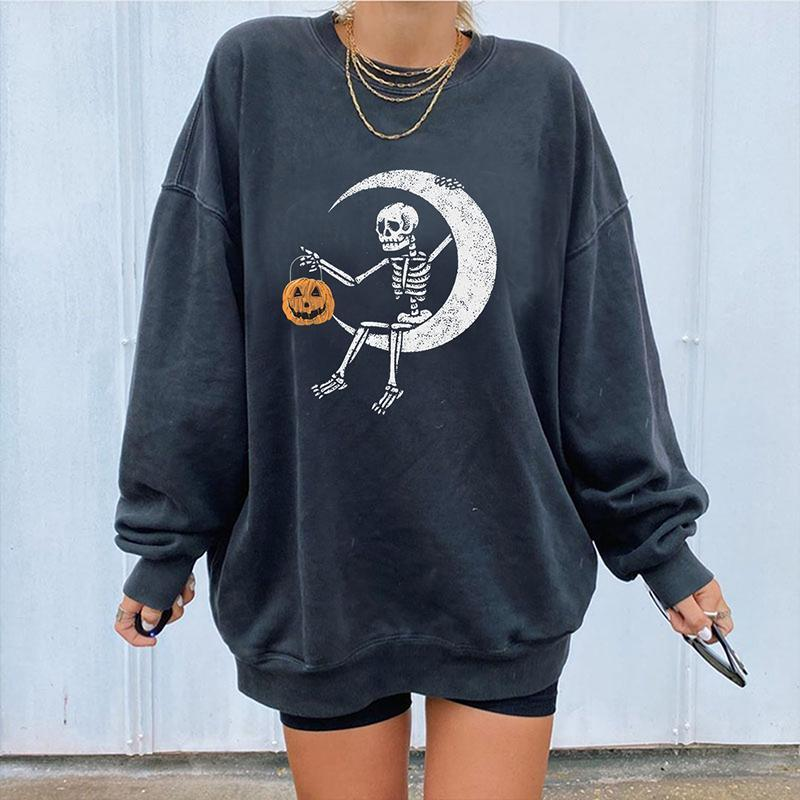 Skeleton moon pumpkin printed crew neck designer sweatshirt