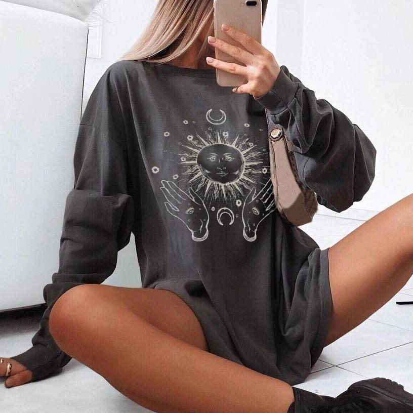 Hand sun moon print long sleeve T-shirt designer
