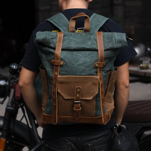 Green and Brown Waxed Canvas Luxury Leather Backpack Gentcreate