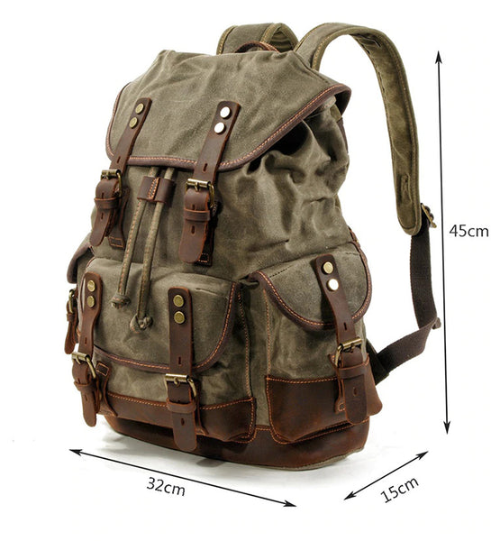 Waterproof Leather Backpack Army Green