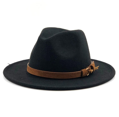 Wool Fedora Hat With Leather Strap - Gentcreate