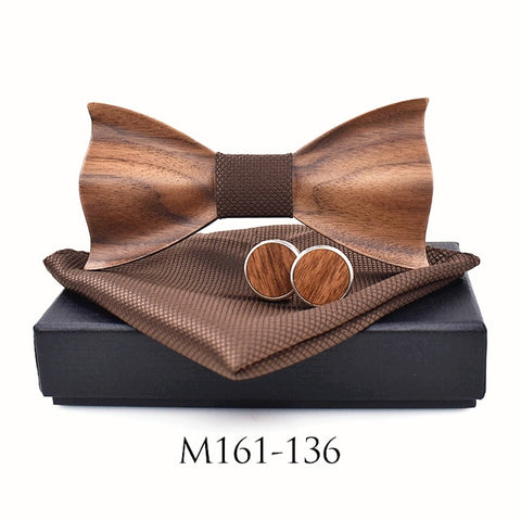 Wooden Bow Tie & Cufflinks - Gentcreate