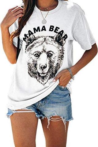 Womens Mama Bear Shirt Animal Print Graphic Short Sleeve Tee Shirt
