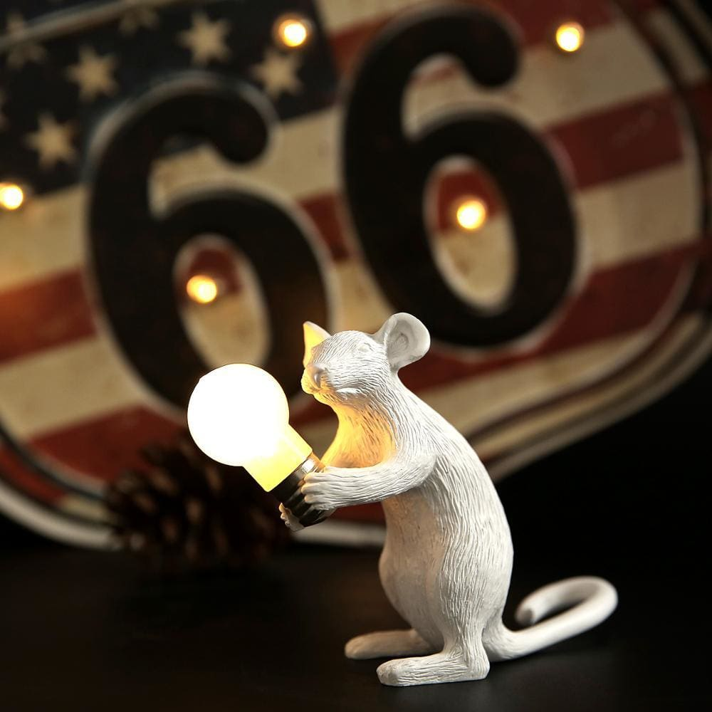 Marcuzzi Designer Mouse Lamp - White Sitting -
