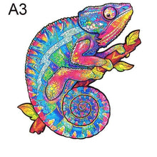 Load image into Gallery viewer, Wooden Animal Jigsaw Puzzle - chameleon jigsawA3 -