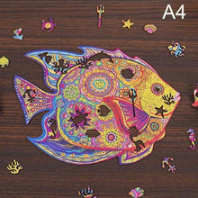 Load image into Gallery viewer, Wooden Animal Jigsaw Puzzle - fish shaped jigsawA4 -