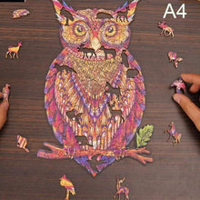 Load image into Gallery viewer, Wooden Animal Jigsaw Puzzle - owl red jigsawA4 -