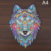 Load image into Gallery viewer, Wooden Animal Jigsaw Puzzle - wolf shaped jigsawA4 -