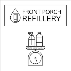 Front Porch Refillery logo with box around it. Below, an outlin eof a spray bottle and empty bottle sitting on a scale.