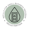 """Light green circle with a Drop logo with a door inside. On the door is a recycling logo. Around the outside of the circle are the words """"Refills for small business program - proud partner"""""""