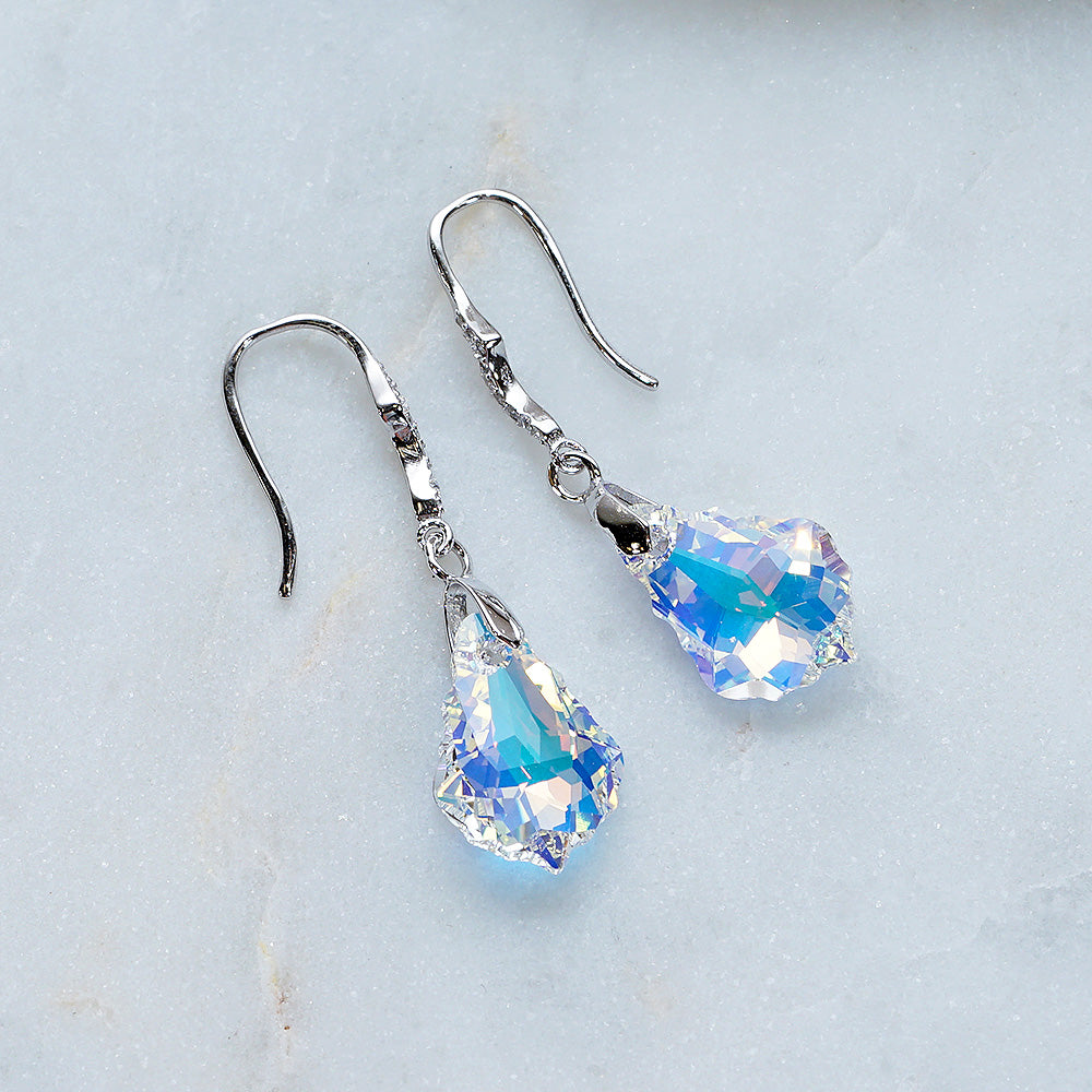 Aurora Borealis Swarovski Crystals Baroque Hook Dangle Earrings