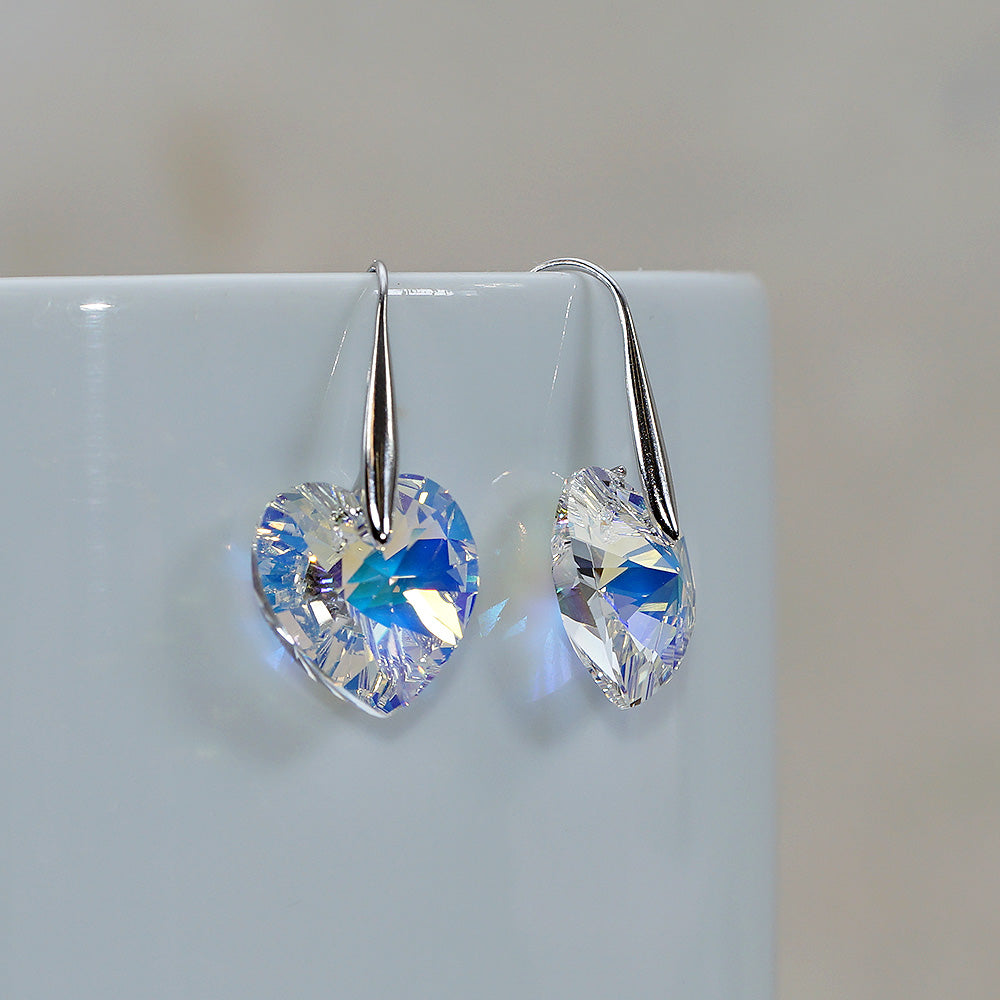 Aurora Borealis Gold Swarovski Crystals Heart Shape Hook Earrings