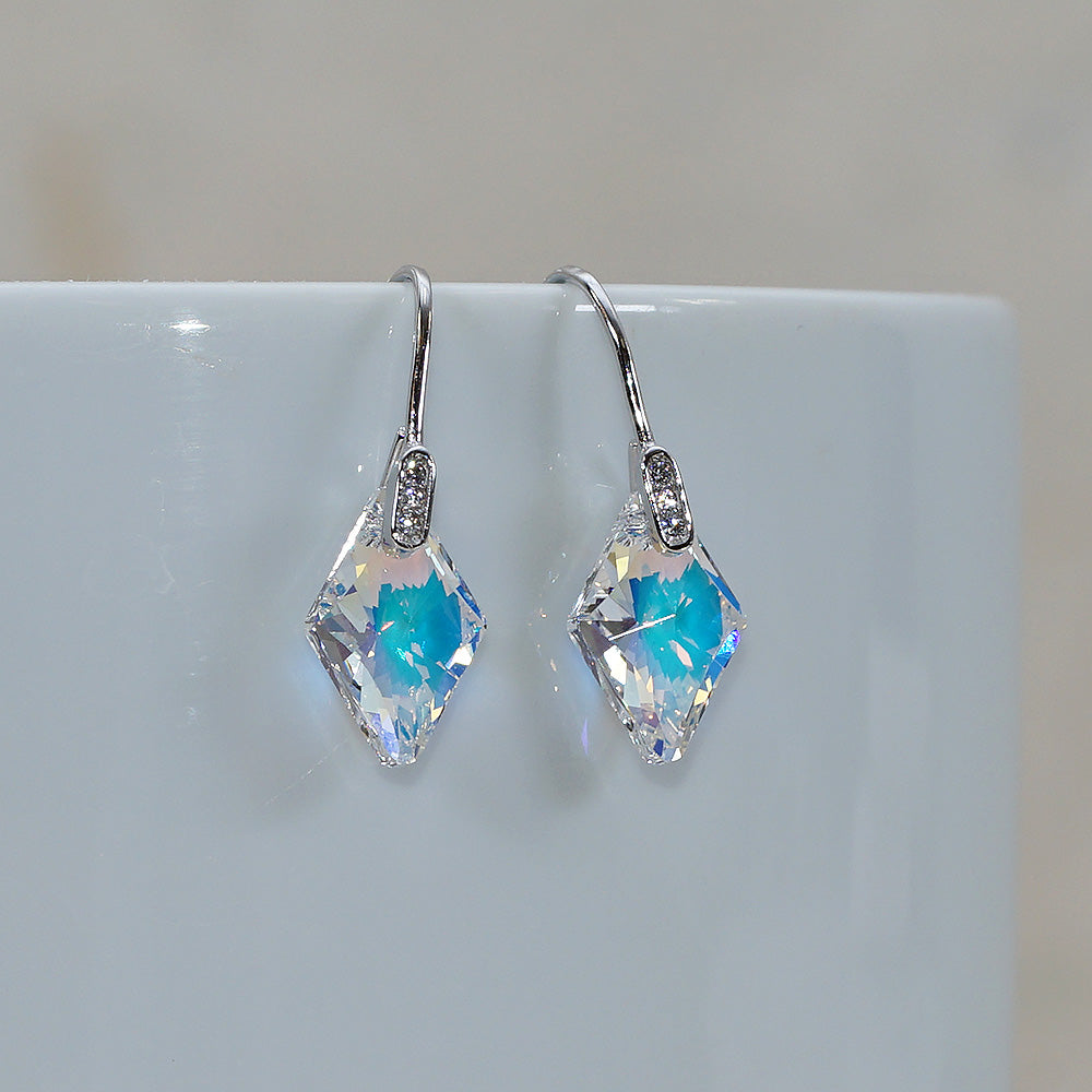 Aurora Borealis Swarovski Crystals faceted rhombus Hook Dangle Earrings