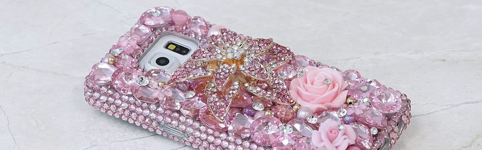 Pink flower bling Samsung Galaxy S7 case