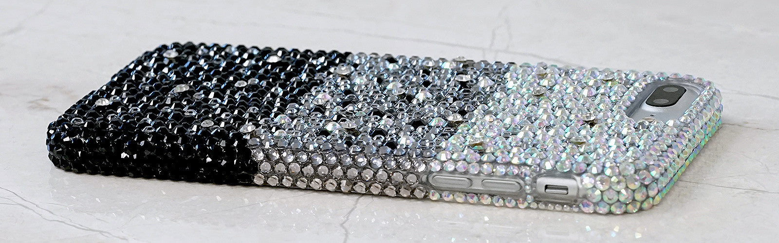 AB crystals faded to jet black bling iphone 7 case