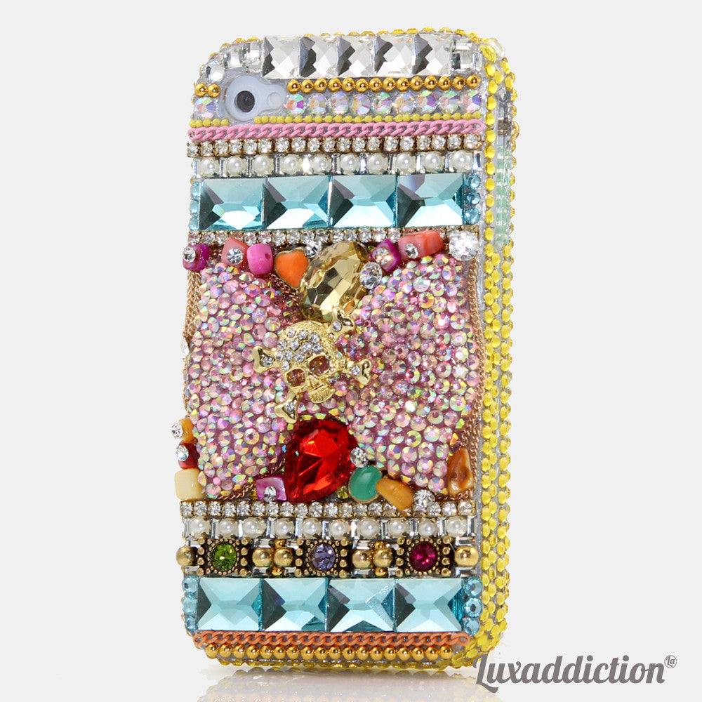 Golden Skull on AB Crystals Bow Design case made for iPhone 4 / 4S