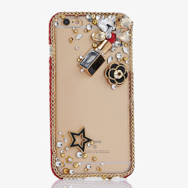 Lipsticks and Camellia Flower bling crystal case for iphone 7
