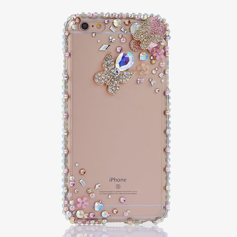 Diamond Butterfly and Pink Daisy crystallized iphone 7 case