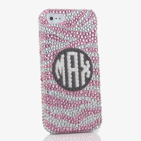 Pink Zebra Personalized Monogram Design (style MO_2003)