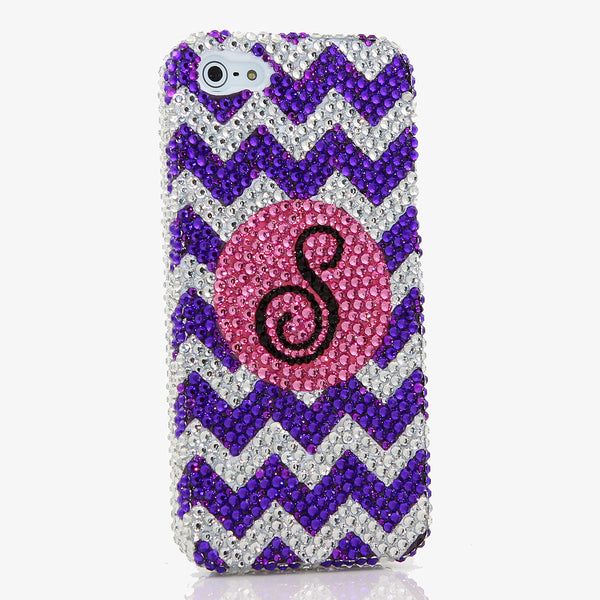 Purple and Clear Chevron Personalized Monogram Design (style MO_2024)