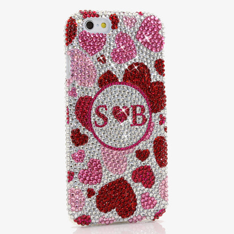 Pink Hearts Personalized Monogram Design Case handmade for iPhone 6 / 6S Plus