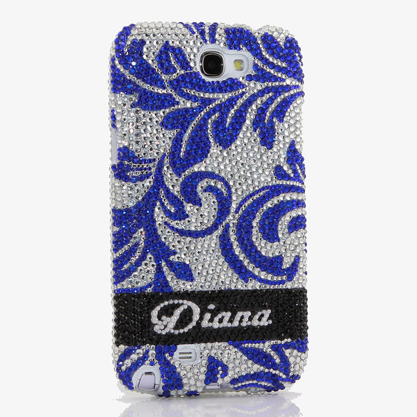 Silver/Blue Floral Print Personalized Name & Initials Design (style PN_1010)
